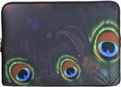 Groene Misstella Laptop Sleeve met pauwenveren tot 14 inch – Zwart/Groen