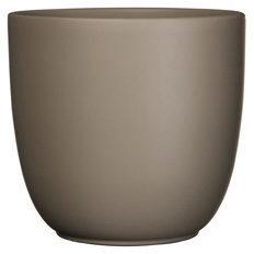 Bruine Mica Decorations Tusca pot rond taupe mat - h18,5xd19,5cm