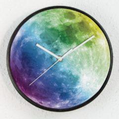 Zwarte Walplus Kleurrijke Maan - Wandklok - Glow in the Dark Klok - voor Kinderen
