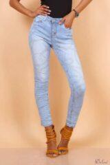 Lichtblauwe Merkloos / Sans marque Broek Toxik3 met normale taille jeans printed SS2020