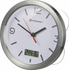 Grijze Bresser MyTime Badkamerklok incl. Temperatuur- en Hygrometer - 17cm - Wit