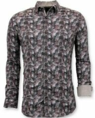 Bruine Overhemd Lange Mouw Tony Backer Luxe Slim Fit - Digitale Print