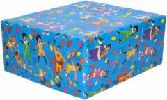 1x Rollen inpakpapier/cadeaupapier Club van Sinterklaas blauw 200 x 70 cm - Cadeaupapier/inpakpapier voor 5 december pakjesavond