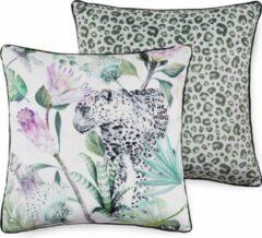Paarse 2x Leuke Gevulde Sierkussen Met Een Trendy Print Cheetah | 50x50 | Dubbelzijdig | Hoogwaardig Kwaliteit