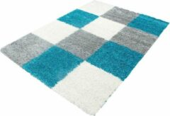 Decor24-AY Hoogpolig vloerkleed Life - turquoise, grijs, wit - 80x250 cm