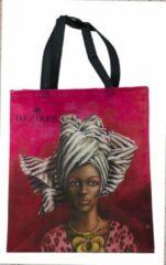 Rode Shopper tas - Shopper tas dames - Boodschappen tas - African Woman Black & White - WhimsicalCollection - Afrikaanse vrouw - Gemaakt van hergebruikte PET Flessen - Milieubewust en Groen. Origineel Afrikaanse passend bij de African Women collectie