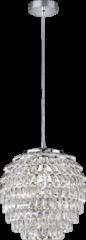 Reality Leuchten Reality, Hanglamp, Petty 1xE27, max.60,0 W Kunststof, Transparant helder, Armatuur: Metaal, Chroom Ø:35,0cm, H:160,0cm