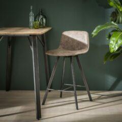 Homestylingshop.nl Barstoel kuip dubbele stiknaad platte buis zwart gepoedercoat. Per 4 stuks verpakt. / Wax PU donkerbruin