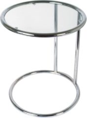 Zilveren Leitmotiv - Swivel Glass Bijzettafel - Chrome