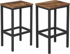 Trend24 - Barkrukken - Industriële Vintage look - Set van 2 stuks - Rustiek Bruin/Zwart