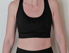 Merkloos / Sans marque Naadloos topje voor fitness, yoga, gym - Zwart - Maat L