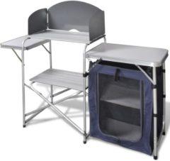 Zilveren VidaXL Campingkeuken inklapbaar met aluminium windscherm