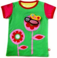 Beeetu T-shirt met speeltje - Bloem en plakvlinder - Fuchsia