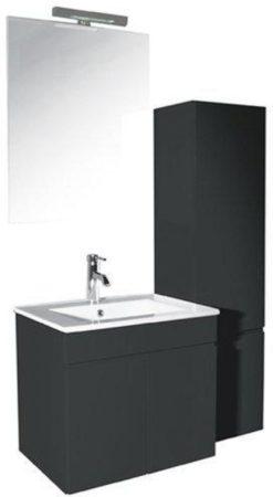 Afbeelding van Antraciet-grijze Boss & Wessing Badmeubelset Milano 60 cm antraciet incl. hoge kast en spiegel