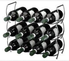 Merkloos / Sans marque Ceruzo Wijnrek - 40 x 15 x 38 cm - Verchroomd - Stapelbaar (3 delig) - 12 flessen