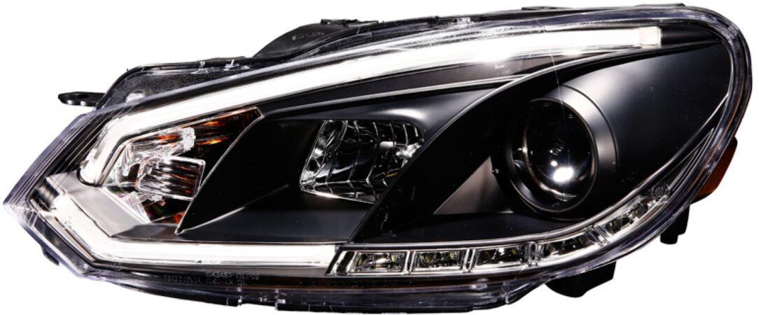 Afbeelding van AutoStyle Set Koplampen incl. DRL 'Light-Bar' passend voor Volkswagen Golf VI 2008-2012 - Zwart - incl. Motor
