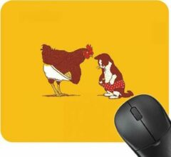 Gele Merkloos / Sans marque Muismat Cock & Pussy - Grappig muismat met Haan & kat - dieren