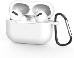 Coverz Siliconen Case Apple AirPods Pro Wit- AirPods hoesje Wit met gratis haak - AirPods case