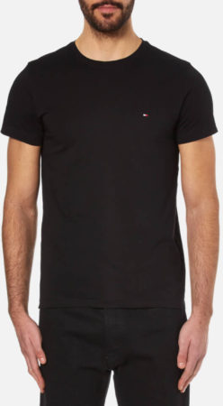 Afbeelding van Zwarte Tommy Hilfiger Men's New Stretch Crew Neck T-Shirt - Flag Black - XL - Black