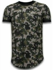 Groene T-shirt Korte Mouw John H Camouflaged Fashionable T-shirt - Long Fit Shirt Army Pattern