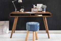 Wohnling Schreibtisch REPA schwarz 120 x 60 x 75 cm Massiv Holz Laptoptisch Sheesham Natur Landhaus-Stil Arbeitstisch mit 1 Schublade Bürotisch PC-T