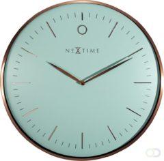 NeXtime Glamour - klok - Rond - Metaal en Gebold Glas - Stil uurwerk - Ø 40 cm - Turquoise