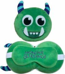 Groene Merkloos / Sans marque Monster reiskussen met slaapmasker voor kinderen - Knuffeldier - Kussentjes en slaapmaskers voor onderweg, in het vliegtuig of in de auto