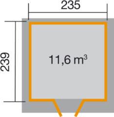 Blokhut Vinea Gr. 2 225 x 280cm antraciet/wit