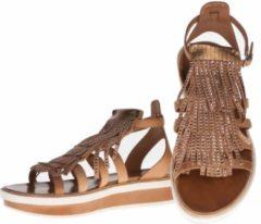 La Femme Plus - sandalen - maat 39 - dames - bruin - fringes - suede