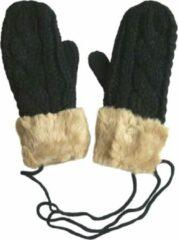 AOP Gebreide wanten met fleece voering en imitatie bontrand kleur zwart maat S