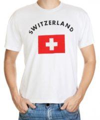 Witte Fun & Feest Party Gadgets Switzerland t-shirt met vlag S