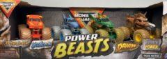 Monster Jam hot wheels 4-pack monster truck Power Beasts - El Toro Loco / Megalodon / Dragon / Horse Power - schaal 1:64