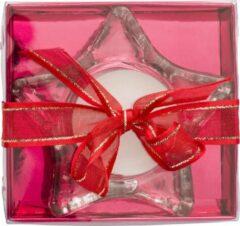 Lupine Set van 3 Waxinelicht houder met waxinelichtje Helder Glas Stervorm verpakt in rode verpakking met strik