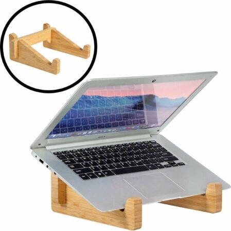 Afbeelding van Naturelkleurige Laptop standaard van Bamboe hout - Houten laptopstandaard - Ergonomische werkplek voor Laptops en Tablets - Notebook - Laptop verhoger / verhoging voor bureau - Decopatent®
