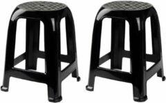 Forte Plastics 2x Zwarte krukjes/keukenkrukjes/opstapjes 46,5 cm - Keuken/badkamer krukjes/zitjes