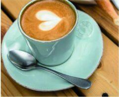 Blauwe Costa nova - servies - koffiekopje met schotel - Nova aqua - aardewerk - set van 6 - H 5 cm