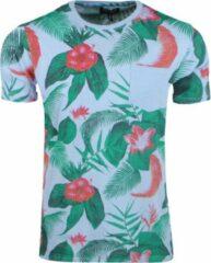 Blauwe New Republic Re-gen heren t-shirt tropical print