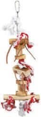 Trixie speelgoed met touw en leren bandjes hout kleurig 35 cm 3 st