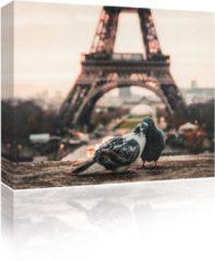 Blauwe Sound Art - Canvas + Bluetooth Speaker Pigeons And Eiffel Tower (23 x 28cm)