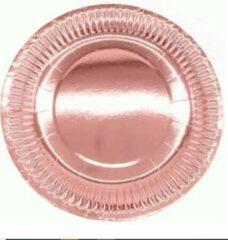Goudkleurige Stemen Kartonnen Bordjes rosegoud 18 cm 20 st - Wegwerp borden - Feest/verjaardag/BBQ borden / Gebak bordjes maat