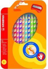 Kleurpotloden Stabilo Easycolor linkshandig 331 blister à 12stuks assorti