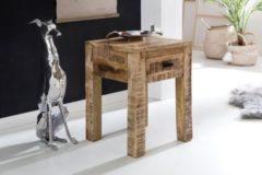 Wohnling Nachttisch RUSTICA 40 x 40 x 55 cm 1 Schublade Mango Massivholz Nachtkommode Holz Natur Design Nachtkästchen Nachtschrank