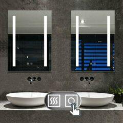 Witte Aica Sanitair LED rechthoekige badkamerspiegel 50x70cm, 4mm wandspiegel, dubbele touch sensor schakelaar , anti-condens