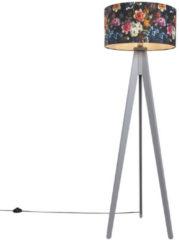 QAZQA Stehleuchte Tripod Classic grau mit Schirm 50 cm flora