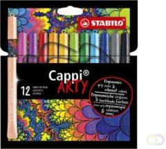 STABILO Cappi - Viltstift - Nooit Meer Je Dop Kwijt Dankzij De Dopring - ARTY Etui Met 12 Kleuren + 1 Dopring
