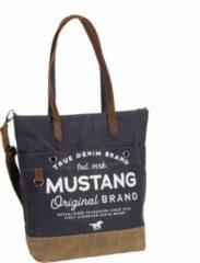 Marineblauwe Mustang® Genua Shopper heavy waxed canvas