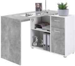 FD Furniture Albert Computer Hoekbureau in grijs beton met wit