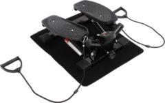 Zwarte HOMCOM Mini fitness stepper voor hometraining incl. trainingsbanden