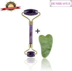 Demiracle Amethist Face Roller met Gua Sha Jade schraper – Gezichtsmassage – Massagetools – Massage - Ontspanning – Kwaliteit