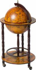 Brulo Wereldbol Globebar Vespucci Wijnrek - ⌀ 36 cm - Hout - Bruin